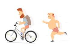自行车,有胡子的人字符 滑稽的人 皇族释放例证