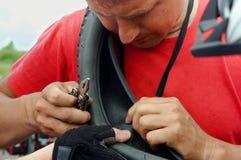 自行车,轮子,照相机,轮胎,修理,轮子,固定,封印,变动 免版税库存图片