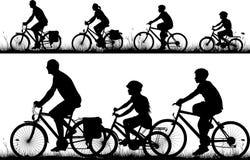自行车-剪影 免版税库存图片