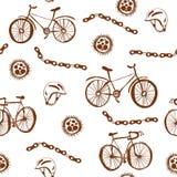 自行车滑稽的无缝的样式 免版税库存照片