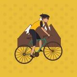 自行车lifesyle设计, edita的平的例证 免版税库存照片