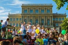 自豪感天(同性恋游行)在布达佩斯,匈牙利 库存照片