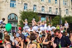 自豪感天(同性恋游行)在布达佩斯,匈牙利 免版税图库摄影