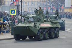 自走火炮开枪` NonaS `特写镜头 庄严的游行的片段以纪念胜利天 库存照片