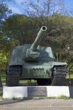 自走火炮设施ISU-153 纪念纪念碑在Priozersk,列宁格勒地区 免版税图库摄影