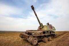 自走火炮,战争行动后果,乌克兰和Donbass冲突 免版税库存照片