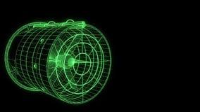 自转在全息图Wireframe样式的爱好者涡轮 好的3D翻译 库存照片