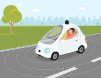 自驾驶汽车平的现代例证 免版税库存图片