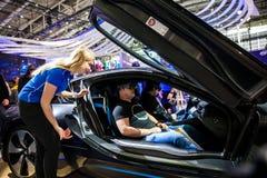 自驾驶BMW i8跑车和虚拟现实微软HoloLens由在陈列公平的Cebit的IBM公司2017年寸 免版税图库摄影