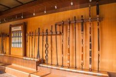 自贡市,四川自贡盐盐博物馆显示倾向为年龄改正,盐溶测试房间和填装洞, 图库摄影