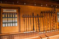 自贡市,四川自贡盐盐博物馆显示倾向为年龄改正,盐溶测试房间和填装洞, 免版税库存照片