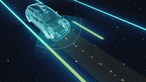 自治的车辆,自动驾驶的技术 无人汽车, IOT连接汽车 X-射线图象 向量例证