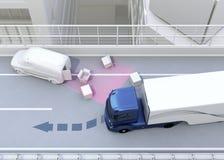 自治迅速避免交通事故的汽车改变的车道 免版税库存照片