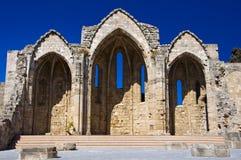 自治都市的维尔京的教会。希腊,罗得岛。 免版税图库摄影