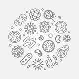 致病性细菌圆的标志 传染媒介病原生物概念illust 皇族释放例证