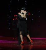 舌头亲吻这牛仔舞蹈慢板这奥地利的世界舞蹈 图库摄影