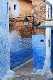 舍夫沙万市蓝色麦地那在摩洛哥,北非 图库摄影
