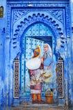舍夫沙万市蓝色麦地那在摩洛哥,北非 免版税图库摄影