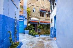 舍夫沙万市蓝色麦地那在摩洛哥,非洲 库存照片