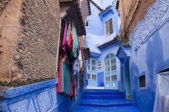 舍夫沙万市蓝色麦地那在摩洛哥, 库存照片