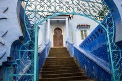 舍夫沙万市蓝色麦地那在摩洛哥 免版税图库摄影