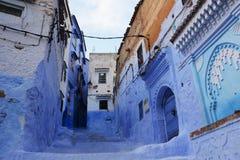 舍夫沙万市,摩洛哥蓝色麦地那  库存照片