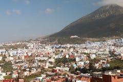 舍夫沙万村庄全景,在摩洛哥 图库摄影