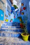 舍夫沙万著名蓝色市摩洛哥 库存图片