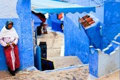 舍夫沙万蓝色麦地那,摩洛哥 免版税库存图片