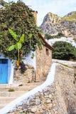 舍夫沙万,摩洛哥麦地那为它的大厦在蓝色树荫下注意了  免版税图库摄影