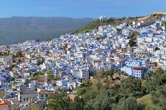 舍夫沙万,摩洛哥看法  免版税图库摄影