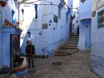 舍夫沙万,蓝色市摩洛哥 免版税库存图片