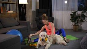 舒展与猎犬狗的健身女性 影视素材