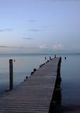 舒展入海的木板走道 库存照片