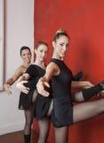 舒展在纬向条花的美丽的年轻芭蕾舞女演员 免版税库存图片