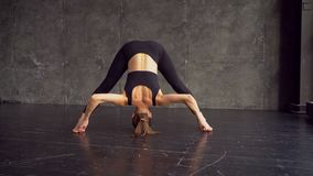 舒展女子瑜伽的美好的执行的执行健身体操莲花体育运动 瑜伽 影视素材