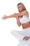 舒展妇女年轻人的健身系列 免版税图库摄影