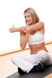 舒展妇女年轻人的健身系列 库存照片