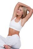 舒展妇女的白肤金发的健身系列 库存图片