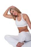 舒展妇女的白肤金发的健身系列 库存照片