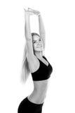 舒展妇女画象的健身隔绝在白色背景 免版税库存图片