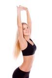 舒展妇女画象的健身隔绝在白色背景 库存图片