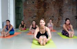 舒展小组的少妇和实践瑜伽 库存照片