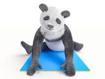 舒展锻炼不同的姿势和asanas的要人字符动物熊熊猫瑜伽 免版税库存图片