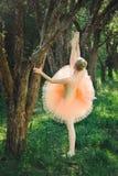 舒展年轻的芭蕾舞女演员和在舞蹈前行使户外 免版税图库摄影