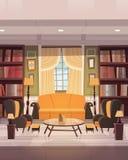舒适与家具、沙发、表扶手椅子和书橱的客厅室内设计 库存例证