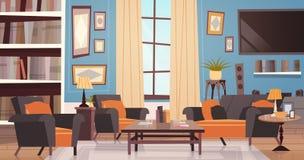 舒适与现代家具、窗口、沙发、表扶手椅子、书橱和电视的客厅室内设计 向量例证