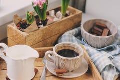 舒适冬天早晨在家 咖啡、牛奶和巧克力在木盘子 在背景的风信花花 温暖的心情 免版税图库摄影