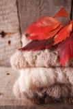 舒适和软的温暖的秋天秋天背景、被编织的毛线衣和红色叶子在一个老葡萄酒木板 周末假日在家 免版税图库摄影