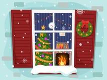 舒适圣诞节客厅的看法有树和壁炉的 向量例证